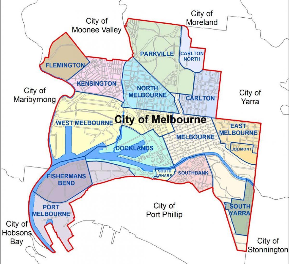 mapa da cidade de melbourne